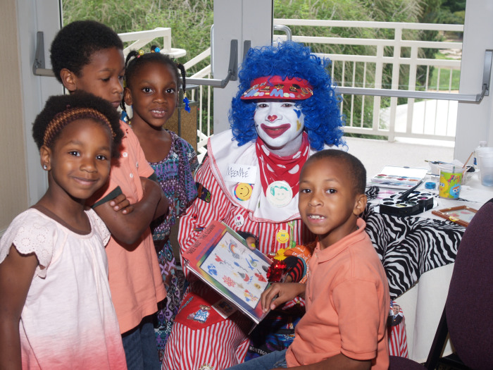 The couple wanted to do something positive with the money they'd spent on the event, so they turned the party into entertainment for local homeless families, bringing in entertainment like a clown for the kids.