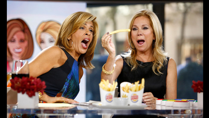 Kathie Lee and Hoda try the fries.