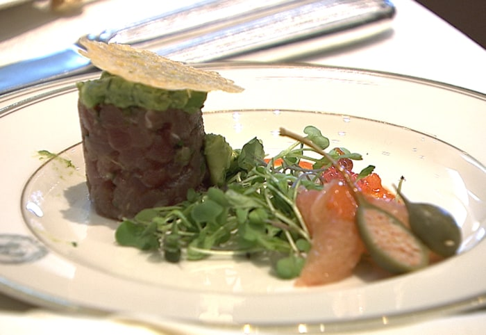 Newly-elected Iranian leader Hassan Rouhani missed out on this tuna tartare and the rest of an appetizing three-course meal at the United Nations General Assembly luncheon on Tuesday after speculation he would have a historic meeting with President Obama.