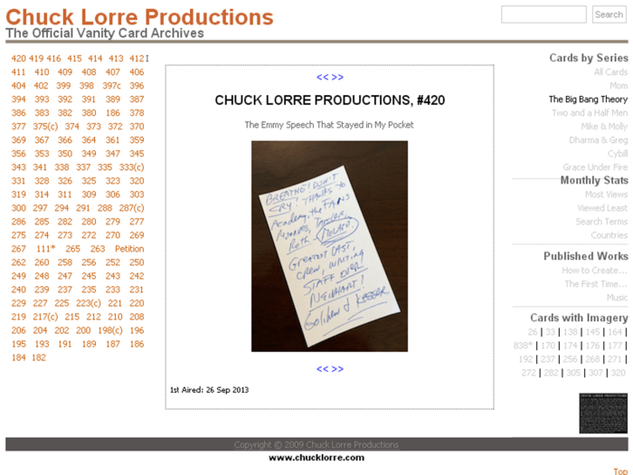 Chuck Lorre's Web Page of Vanity Cards