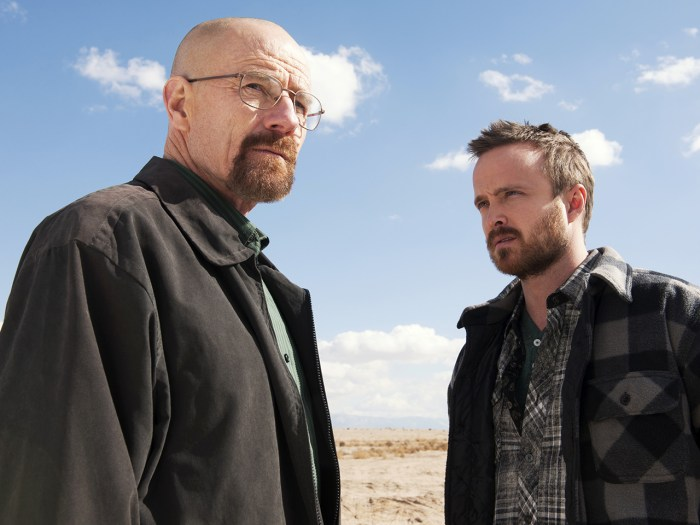 "Image: Bryan Cranston, left, and Aaron Paul in a scene from ""Breaking Bad."""