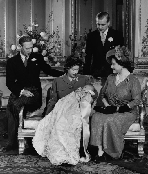 Members of the British royal family gathering for the Dec. 15, 1948 christening of Prince Charles.
