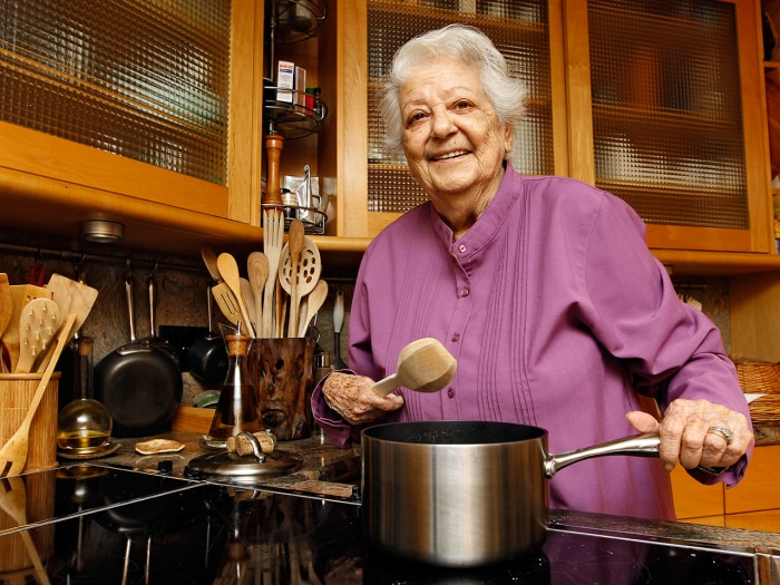 FILE - In this May 29, 2012 file photo, chef Marcella Hazan poses in the kitchen of her Longboat Key, Fla., home. Hazan, the Italian-born cookbook aut...