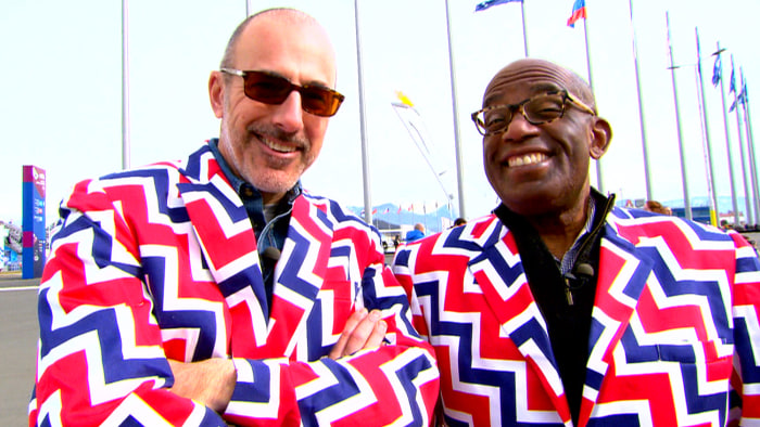Matt Lauer and Al Roker modeled the jackets worn by the Norwegian Olympic curling team to match their pants, which can practically be seen from outer space.
