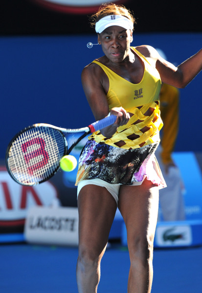 If you've ever wondered what a slice of apple pie hitting a tennis ball would look like, Venus Williams answered that question with this outfit in 2011.