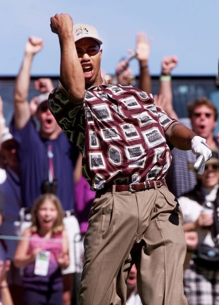 Rarely will you see Tiger Woods dressed like your Uncle Lenny, but he had no choice in this one. Even in a sport known for hideous shirts, the 1999 U.S. Ryder Cup golf team outdid itself with these shirts featuring images of framed pictures of former Ryder Cup teams on them.
