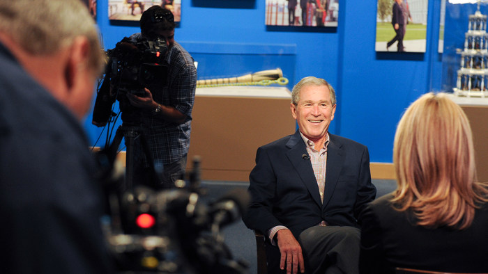 George W. Bush spoke with his daughter, TODAY's Jenna Bush Hager, about portraits of world leaders he has painted that will be on display at his presidential library in Dallas this month.