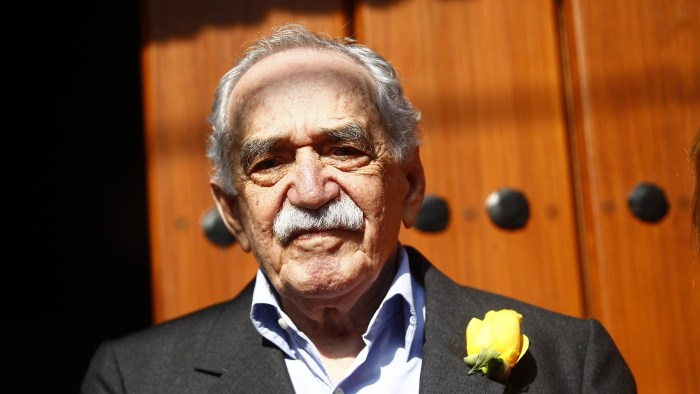 Marquez outside his house on his 87th birthday in Mexico City on March 6, 2014.