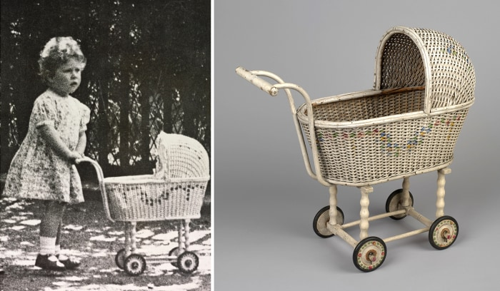 The two-year-old Princess Elizabeth with her wicker pram in the grounds of her home in Piccadilly, London, 1928 <br/> A wicker pram, belonging to Prin...