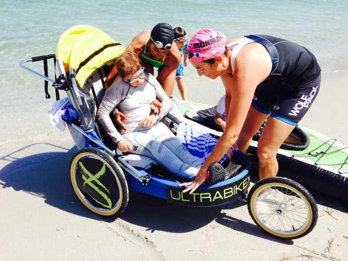 Kerry Gruson and Cristina Ramirez train for the upcoming triathlon they will complete together.