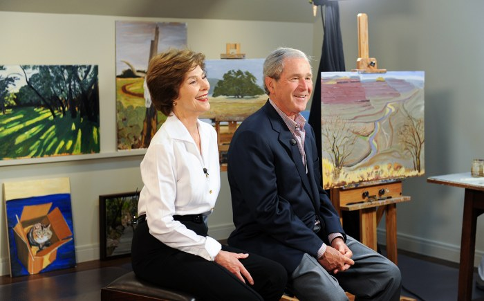 President George W. Bush participates in an interview with daughter Jenna Bush Hager and the TODAY Show in Dallas, TX. Photo by Grant Miller