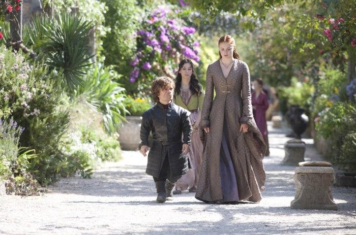 """Image: Peter Dinklage, Sibel Kekilli, Sophie Turner on the """"Game of Thrones"""" Season 3 finale."""
