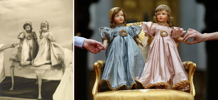 Two Parisian dolls belonging to the Princesses Elizabeth and Margaret <br/> <br/>Royal Collection Trust / (C) Her Majesty Queen Elizabeth II 2014. <br...