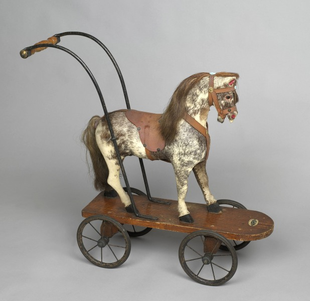A toy horse on wheels that Princess Elizabeth and Princess Margaret played with, c.1930s <br/> <br/>Credit line: Royal Collection Trust / (C) Her Maje...