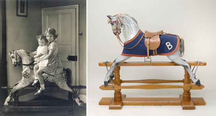 Princess Elizabeth and Princess Margaret on a rocking horse, August 1932 <br/> <br/>Royal Collection Trust / (C) Her Majesty Queen Elizabeth II 2014. ...