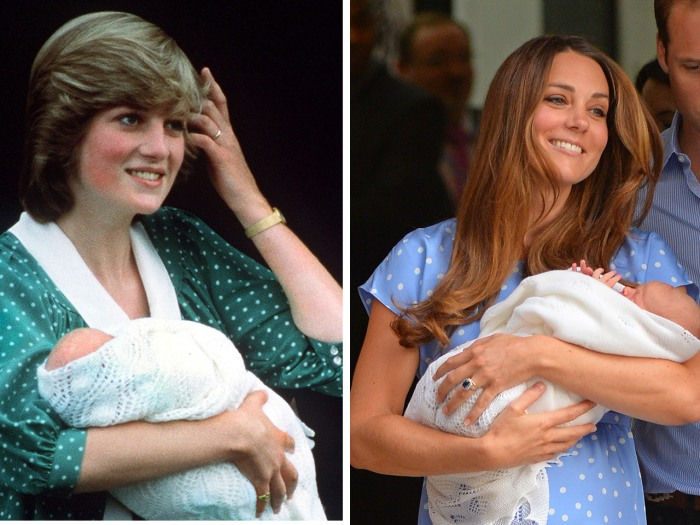 Like Princess Diana, Duchess Kate addressed the crowds outside a London hospital in a loose polka-dot gown.