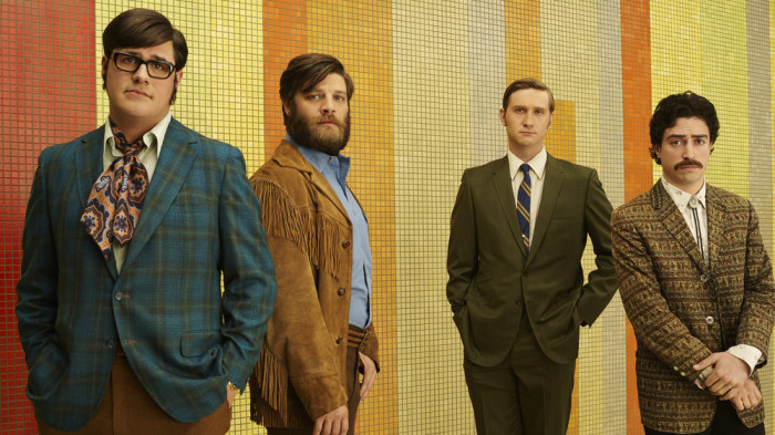 """Mad Men"" Season 7 first look: Harry Crane (Rich Sommer), Stan Rizzo (Jay R. Ferguson), Ken Cosgrove (Aaron Staton) and Michael Ginsberg (Ben Feldman."