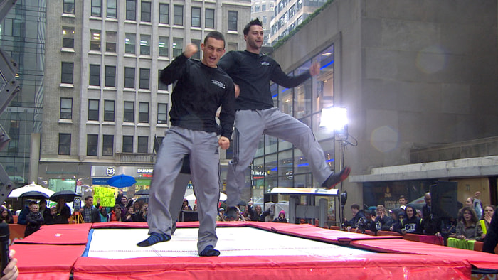 The brothers celebrated their new world record on the plaza.