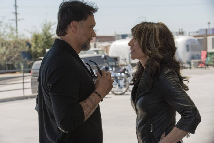 "IMAGE: Katey Sagal and Jimmy Smits in ""Sons of Anarchy"""