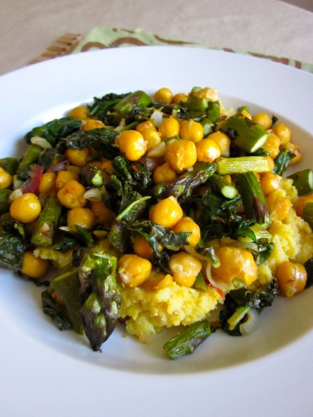 Roasted asparagus and chickpeas with sauteed spinach
