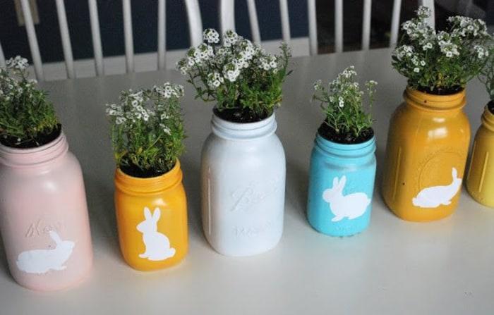 Spring bunny mason jars