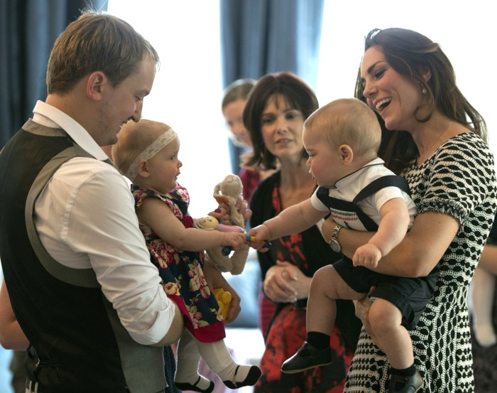 WELLINGTON, NZ - APRIL 09:  In this handout photo provided by Government House NZ, Catherine, Duchess of Cambridge and Prince George of Cambridge atte...