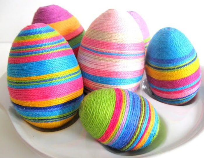 Thread-wrapped eggs