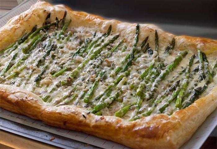 Three-Cheese Hearty Greens And Puff Pastry Tart Recipe — Dishmaps