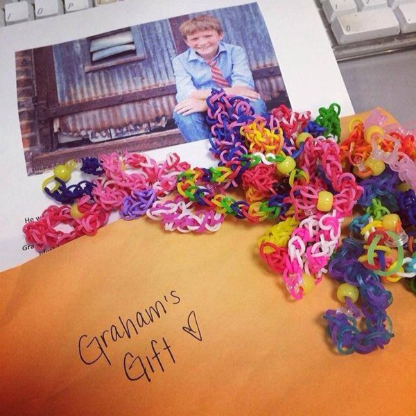 One of Graham's customers posted this photo to his Facebook page after receiving her Valentine bracelets.