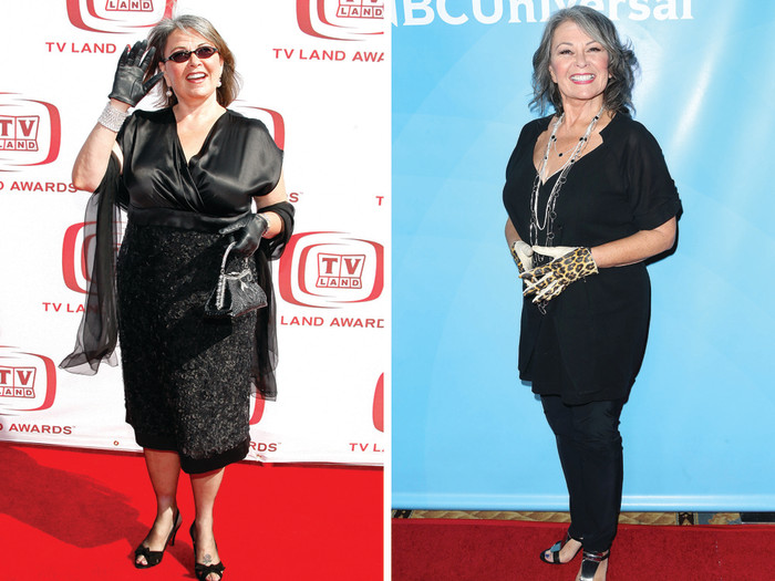 Roseanne Barr at an event in 2008, left, and at NBC Press Day on Tuesday.