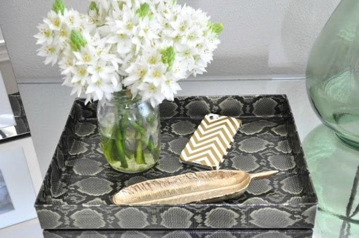 Faux snakeskin tray