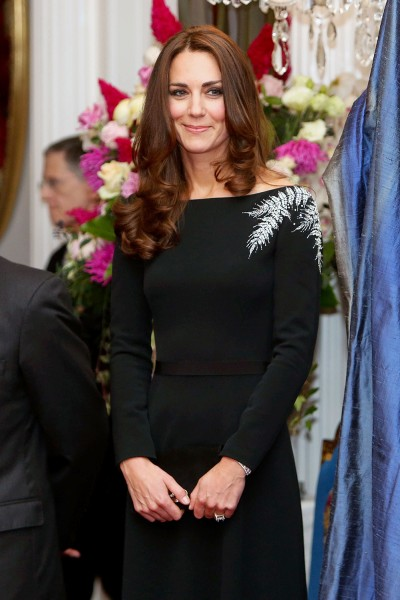 Catherine, the Duchess of Cambridge, attends an art unveiling ceremony at a state reception at Government House in Wellington on April 10, 2014. Brita...