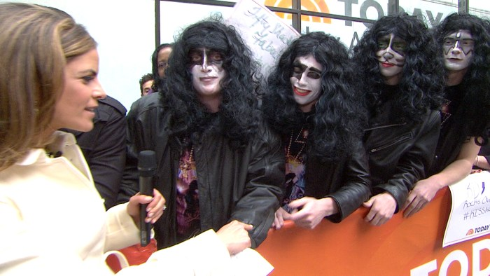 Four high school students from Montgomery, N.Y., who were sent home from a school function for dressing like the members of KISS, talked with Natalie Morales before meeting their idols on Friday.