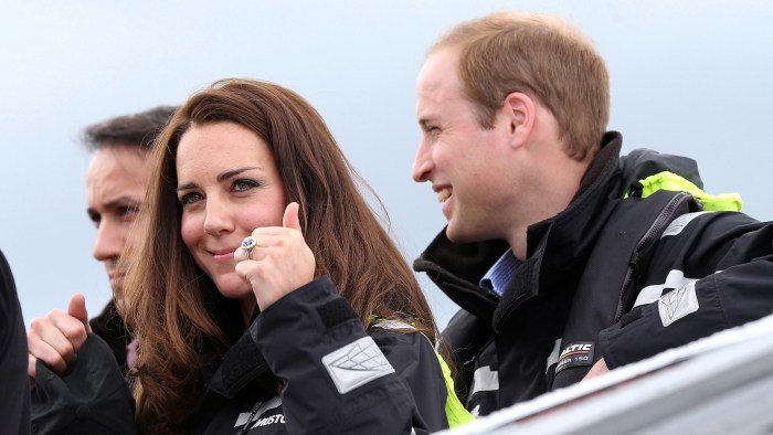 epa04163181 Britain's Prince William and Catherine, Duchess of Cambridge, smile at the Viaduct Harbour before going sailing with Team New Zealand in t...