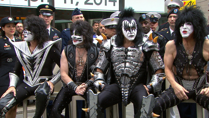 The members of the legendary KISS dropped by Rockefeller Plaza on TODAY Friday to talk about their new tour and hiring military veterans after being inducted into the Rock and Roll Hall of Fame on Thursday night.