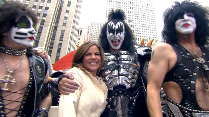 Natalie got a hug from the Demon himself, KISS bassist Gene Simmons, as the band celebrated its new status as Rock and Roll Hall of Famers.