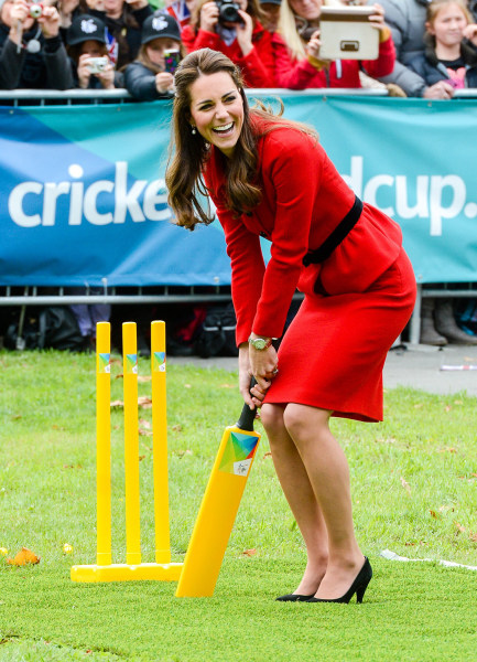 Duchess Kate took the field in four-inch heels to face off against husband Prince William in a game of cricket on Monday during the royal couple's trip to New Zealand.