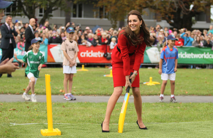 An active weekend by Duchess Kate filled with a wine-tasting, a ride in a jet boat and then a cricket match against her husband on Monday helped quell rumors of a second royal pregnancy after an off-handed remark by Prince William on Saturday.