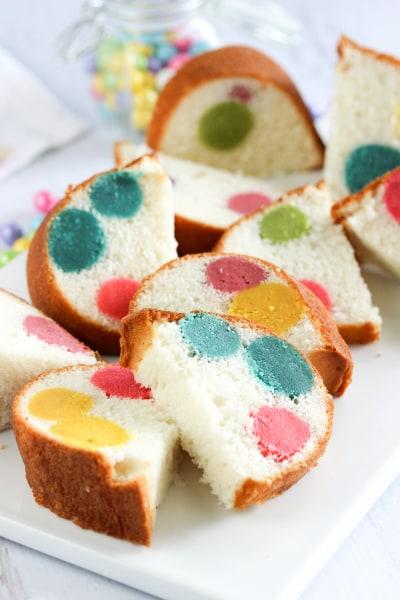 Surprise-inside dotty cake