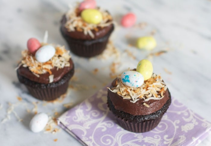 Chocolate Easter-nest cupcakes