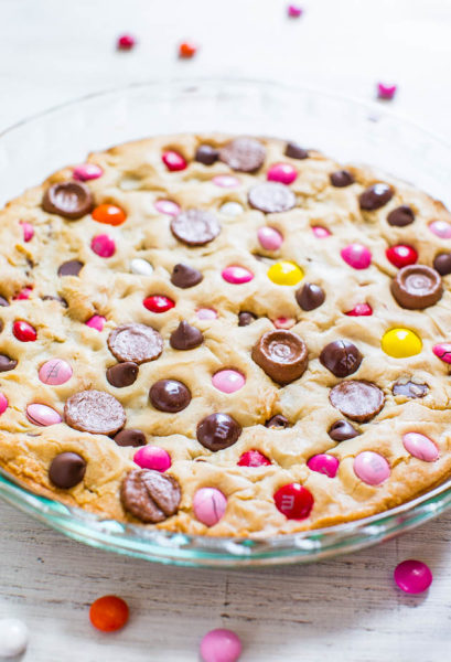 M&M cookie pie