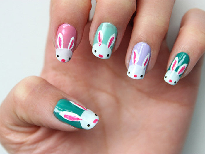 Easter nail art designs to DIY: Easter bunnies