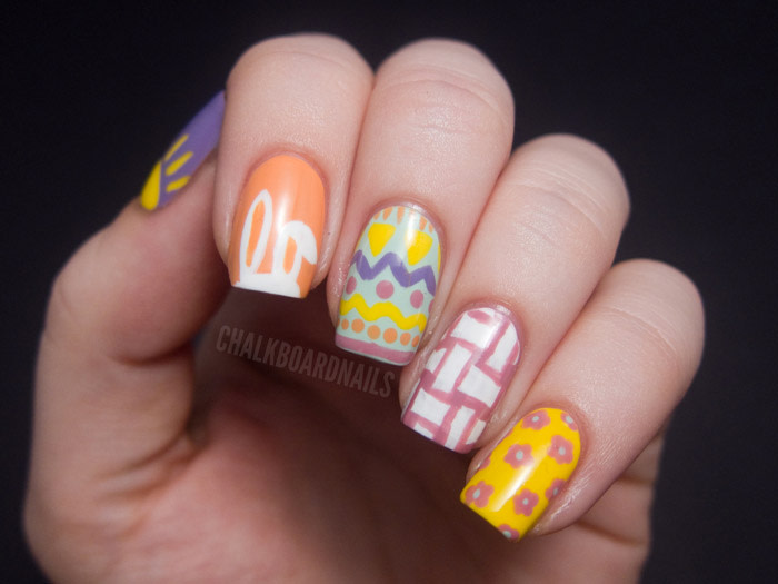 Easter nail art designs to DIY: bunnies, baskets, spring flowers