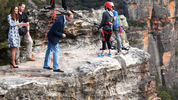 Prince William, Duke of Cambridge, and Catherine, Duchess of Cambridge, observe abseiling and team building exercises at Narrow Neck Looko...