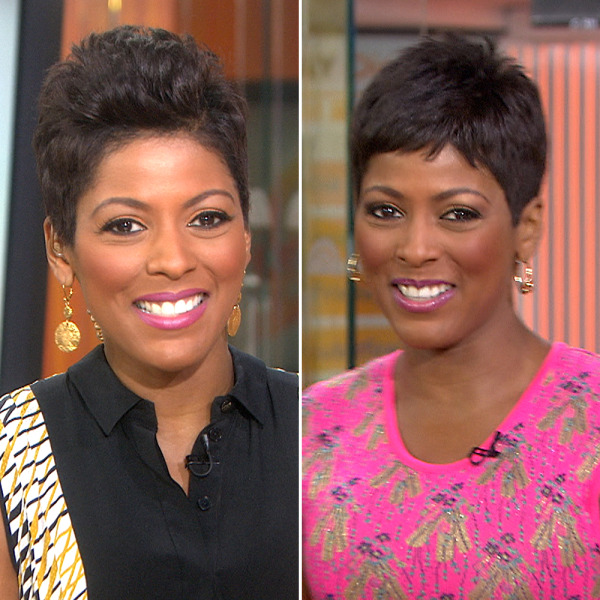 A close up of Tamron Hall's new hairstyle.