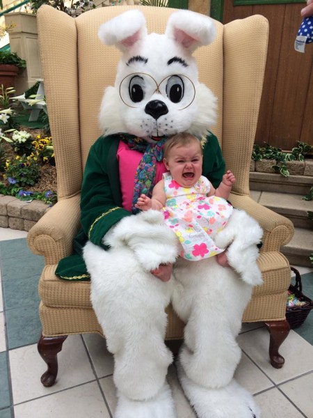 kids scared of the easter bunny well look at him