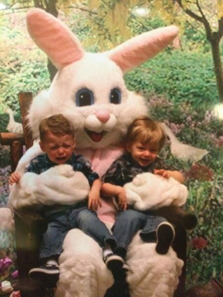 The Easter Bunny is one thing these fraternal twins do NOT see eye to eye on.