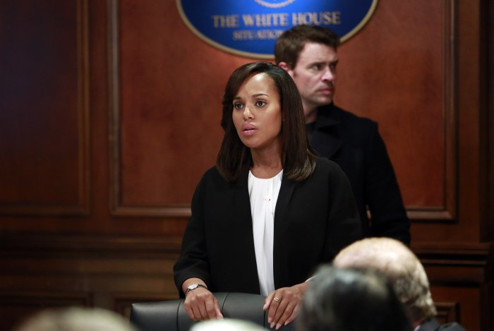 "Kerry Washington and Scott Foley in a scene in the third season finale of ""Scandal."""
