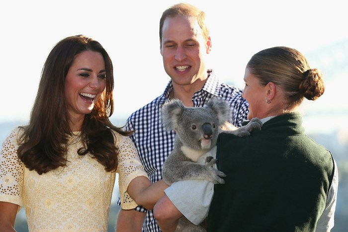 SYDNEY, AUSTRALIA - APRIL 20:  Catherine, Duchess of Cambridge, and Prince William, Duke of Cambridge meet a Koala at Taronga Zoo on April 20, 2014 in...