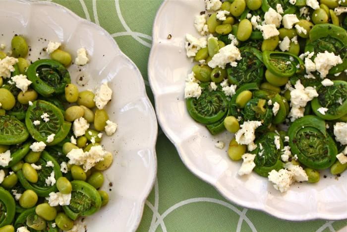 Fiddlehead fern and edamame salad